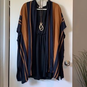 H&M brown/navy blue lightweight cardigan